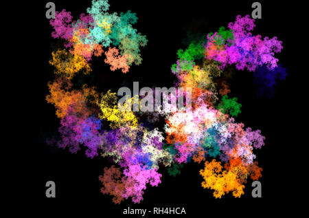 Yellow blue purple blue fractal abstract. - Stock Photo