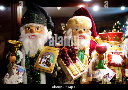 Wilton, CT USA. Nov 2018. Cute Santa nutcracker figures on a fireplace mantle at a nice local Christmas theme store. - Stock Photo