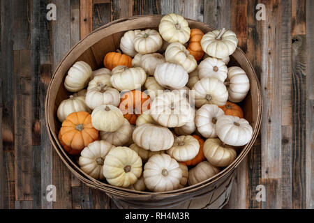 Small white mini pumpkins in a wooden basket - Stock Photo