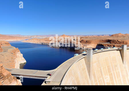 Glen canyon Dam, in Arizona, United States. Overview of the dam and Lake Powell, reservoir on the Colorado River - Stock Photo
