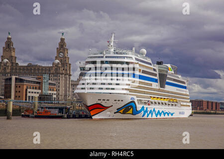 Cruise liner Aidablu berthed at the Liverpool cruise terminal at the Pier Head. - Stock Photo