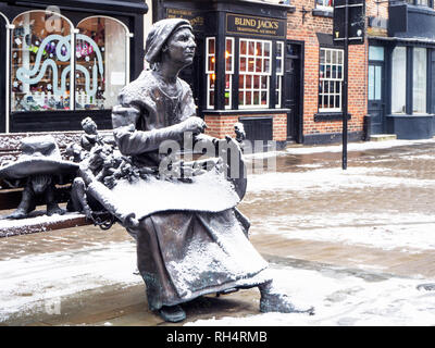 Mother Shipton statue in the Market Place in winter Knaresborough North Yorkshire England - Stock Photo