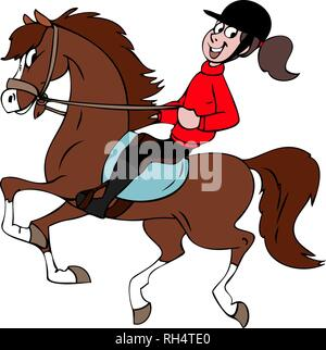 Cartoon rider and her brown horse vector illustration - Stock Photo