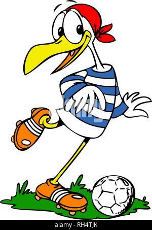 cartoon seagull playing football vector illustration - Stock Photo