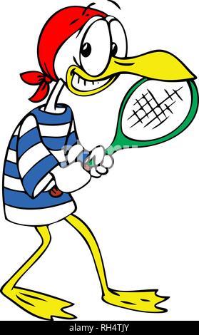 cartoon seagull playing tennis vector illustration - Stock Photo