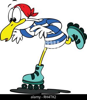cartoon seagull roller skating vector illustration - Stock Photo