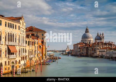Santa Maria della Salute as seen from the Academia bridge, Venice, Italy - Stock Photo