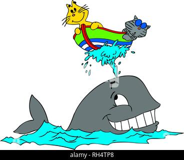 Vector illustration of two cartoon cats and a whale - Stock Photo