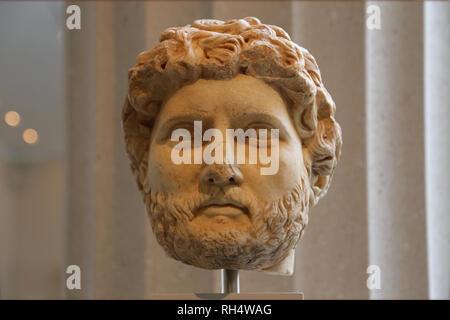 Marble portrait of the emperor Hadrian (76-138).  Roman, Imperial, ca. 150-75. Met. NY. USA. - Stock Photo