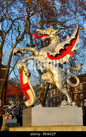 London, England, UK. Dragon marking the boundary of the City of London, Victoria Embankment.  Cast iron model, design based on two large dragon sculpt - Stock Photo