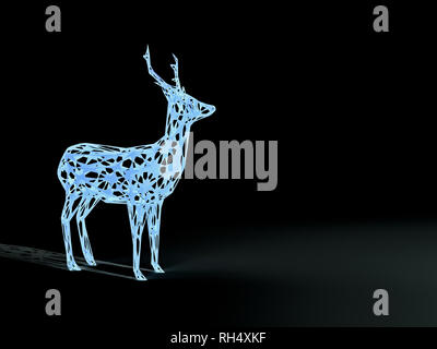 3d illustration rendering of blue illuminated deer in the dark - Stock Photo