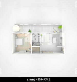 3d interior illustration rendering of furnished home apartment - Stock Photo