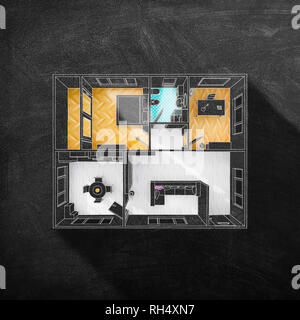 Chalk sketch drawing of multicolored furnished home apartment on blackboard - Stock Photo