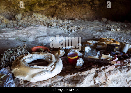 Castellar, Jaen province, Andalusia, Spain : Food offerings during the annual romeria to the IV century BC Iberian cave santuary known as Cueva de la  - Stock Photo
