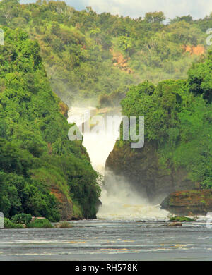 Looking towards Murchison Falls from the middle of the Nile River in Uganda - Stock Photo