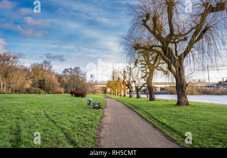Path along the Embankment beside the River Nene in central Peterborough, Cambridgeshire, England - Stock Photo