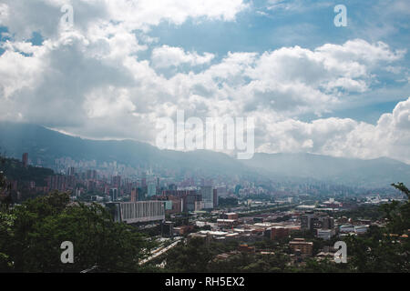 Views over the sprawling valley city of Medellín, Colombia - Stock Photo