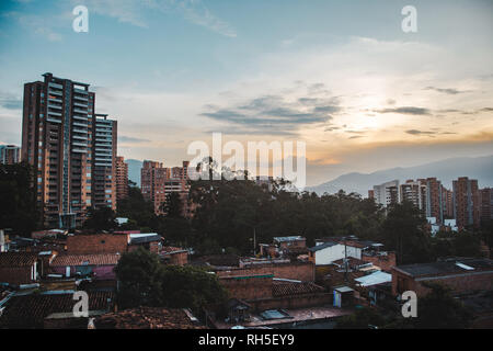 Views over the sprawling valley city of Medellín, Colombia from the area of El Poblado - Stock Photo