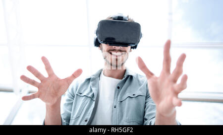 VR headset for business experience, curious man