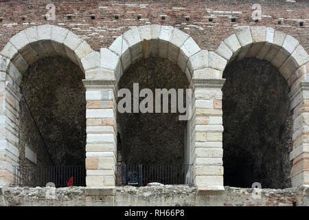 Roman amphitheatre Arena di Verona at the Piazza Bra square in the historic centre of Verona - Italy. - Stock Photo