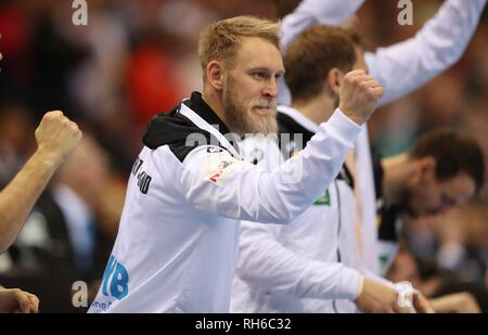 Hamburg, Deutschland. 25th Jan, 2019. firo: 25.01.2019, Handball: World Cup World Cup Semifinal Semi Final Germany - Norway 25:31 gesture Matthias Musche | usage worldwide Credit: dpa/Alamy Live News - Stock Photo