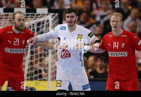 Hamburg, Deutschland. 25th Jan, 2019. firo: 25.01.2019, Handball: World Cup World Cup Semi Finals Semi Final Denmark Denmark - France, France. Jersey puller | usage worldwide Credit: dpa/Alamy Live News - Stock Photo