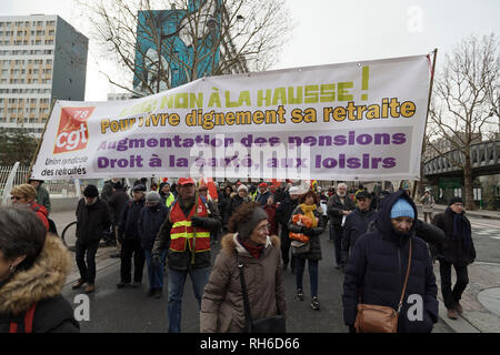 Paris, France. 31st Jan, 2019. Thousands of pensioners demonstrated peacefully from the Place d'Italie and towards the Ministry of Finance at Bercy on January 31, 2019 in Paris, France. Credit: Bernard Menigault/Alamy Live News - Stock Photo