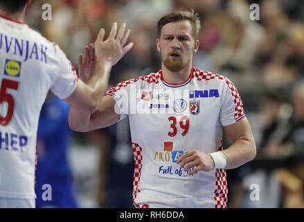 firo: 23.01.2019, Handball: World Cup World Cup Main Round France - Croatia, Croatia gesture, David MAndic, CRO | usage worldwide - Stock Photo