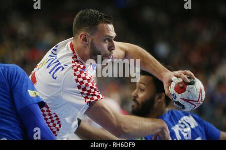 firo: 23.01.2019, Handball: World Cup World Cup Main Round France - Croatia, Croatia Jakov Vrankovic, CRO | usage worldwide - Stock Photo
