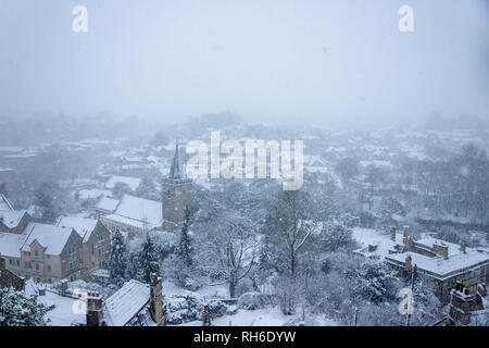 Bradford on Avon, Wiltshire, UK, 01st February, 2019  Bradford on AvonTown in the snow seen from chapel of St Mary Tory  Credit Starsphinx Photography/Alamy Live News - Stock Photo