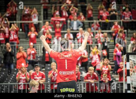 Feature, goalkeeper Niklas LANDIN (DEN) rejoices the fans, final jubilation, Final, Norway (NOR) - Denmark (DEN) 22:31, 27.01.2019 in Herning/Denmark Handball World Cup 2019, from 10.01. - 27.01.2019 in Germany/Denmark. | usage worldwide - Stock Photo