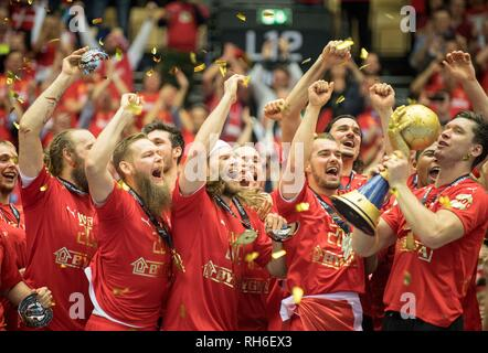 Award ceremony jubilation Team DEN (1st place), goalkeeper Niklas LANDIN r. (DEN) with Cup, Team, Final, Norway (NOR) - Denmark (DEN) 22: 3, on 27.01.2019 in Herning/Denmark Handball World Cup 2019, from 10.01. - 27.01.2019 in Germany/Denmark. | usage worldwide - Stock Photo