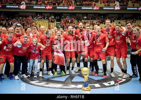 Award Ceremony, jubilation Team DEN (1.Platz) with Cup, Team, Final, Norway (NOR) - Denmark (DEN) 22: 3, on 27.01.2019 in Herning/Denmark Handball World Cup 2019, from 10.01. - 27.01.2019 in Germany/Denmark.   usage worldwide - Stock Photo