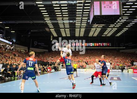 Jump shot by Mikkel HANSEN (DEN/above) versus Christian O'SULLIVAN (NOR), action, duels, final, Norway (NOR) - Denmark (DEN) 22:31, on 27.01.2019 in Herning/Denmark Handball World Cup 2019, from 10.1. - 27.01.2019 in Germany/Denmark.   usage worldwide - Stock Photo