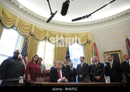 Washington, District of Columbia, USA. 31st Jan, 2019. United States President Donald J. Trump speaks during a meeting with American manufacturers in the Oval Office of the White House on January 31, 2019 in Washington, DC. Credit: Oliver Contreras/Pool via CNP Credit: Oliver Contreras/CNP/ZUMA Wire/Alamy Live News - Stock Photo