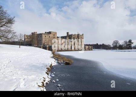 Raby Castle, Staindrop, County Durham, UK.  Friday 1st February 2019. UK Weather. Beautiful scenes as heavy snowfall creates a winter wonderland at Raby Castle in Northeast England. Credit: David Forster/Alamy Live News - Stock Photo