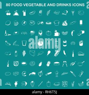80 Vector Food, Vegetable and Drinks Icon Set On Flat UI Color Background - Stock Photo