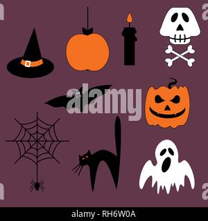 Halloween vector set of icons and symbols. Scary background cartoon doodle. Vector isolated illustrations. - Stock Photo