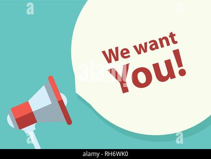 Flat design vector business illustration concept bubble speech. 'We want you!' text. Digital marketing megaphone for website and promotion banners. - Stock Photo