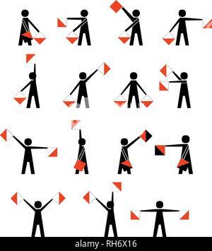 alphabet - flag semaphore system. vector alphabet icon Vector illustration isolated on white - Stock Photo