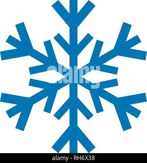 Snowflake vector icon blue color. Winter white christmas snow flake crystal element. Weather illustration ice collection. Xmas frost flat isolated - Stock Photo