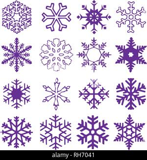 Snowflake vector icon background set proton purple color. Trend 2019. Winter white christmas snow flake crystal element. Weather illustration. - Stock Photo