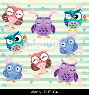 Funny Owls. Cartoon Character Isolated on star and stripes green background. Vector Illustration.Love in the air, Saint Valentine's day. - Stock Photo