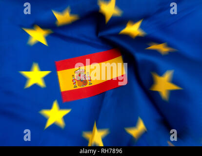 Flags of European Union and Spain - Stock Photo