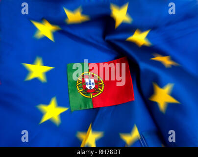 Flags of European Union and Portugal - Stock Photo