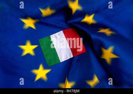 Flags of European Union and Italy - Stock Photo