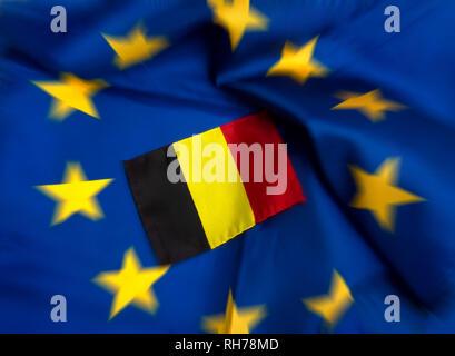 Flags of European Union and Belgium - Stock Photo