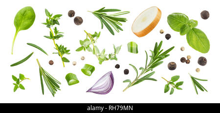 Different spices and herbs isolated on white background, top view - Stock Photo