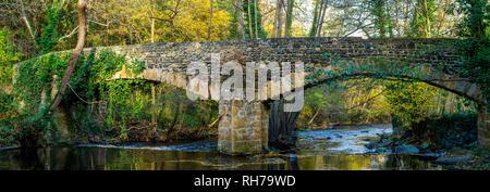 Puy de Dome (63) Ancien pont de Neschers// France. Puy de Dome (63) Old bridge of Neschers village - Stock Photo