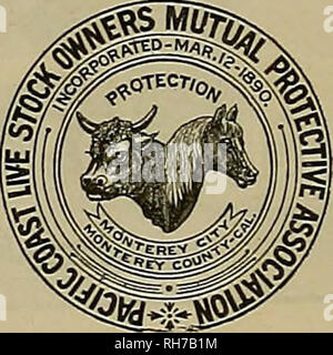 . Breeder and sportsman. Horses. Can be worn without discomfort while feeding aud sleeping, A SPECIFIC EOR CATAEEH IN HORSES Cures and prevents DISTRMPER, and all contagions diseases COUGHS, COLDS, PINK-EYE, IN. FLUENZA, NASAL, GLEET, HEAVES, etc. The only effectual method invented of applying medicine directly to the seat of the above-mentioned ailments In horseB and cattle. Address Welch Inhaler and Medicine Co., 37 Second St., San Francisco, Cal. sent by expreus ©. O. 1L, or on receipt of price, $5.00.. The Pacific Coast Live - Stock Owners! MDTDAL PB0TECT1VE ASS'H, MONTEREY, Monterey Co.,  - Stock Photo